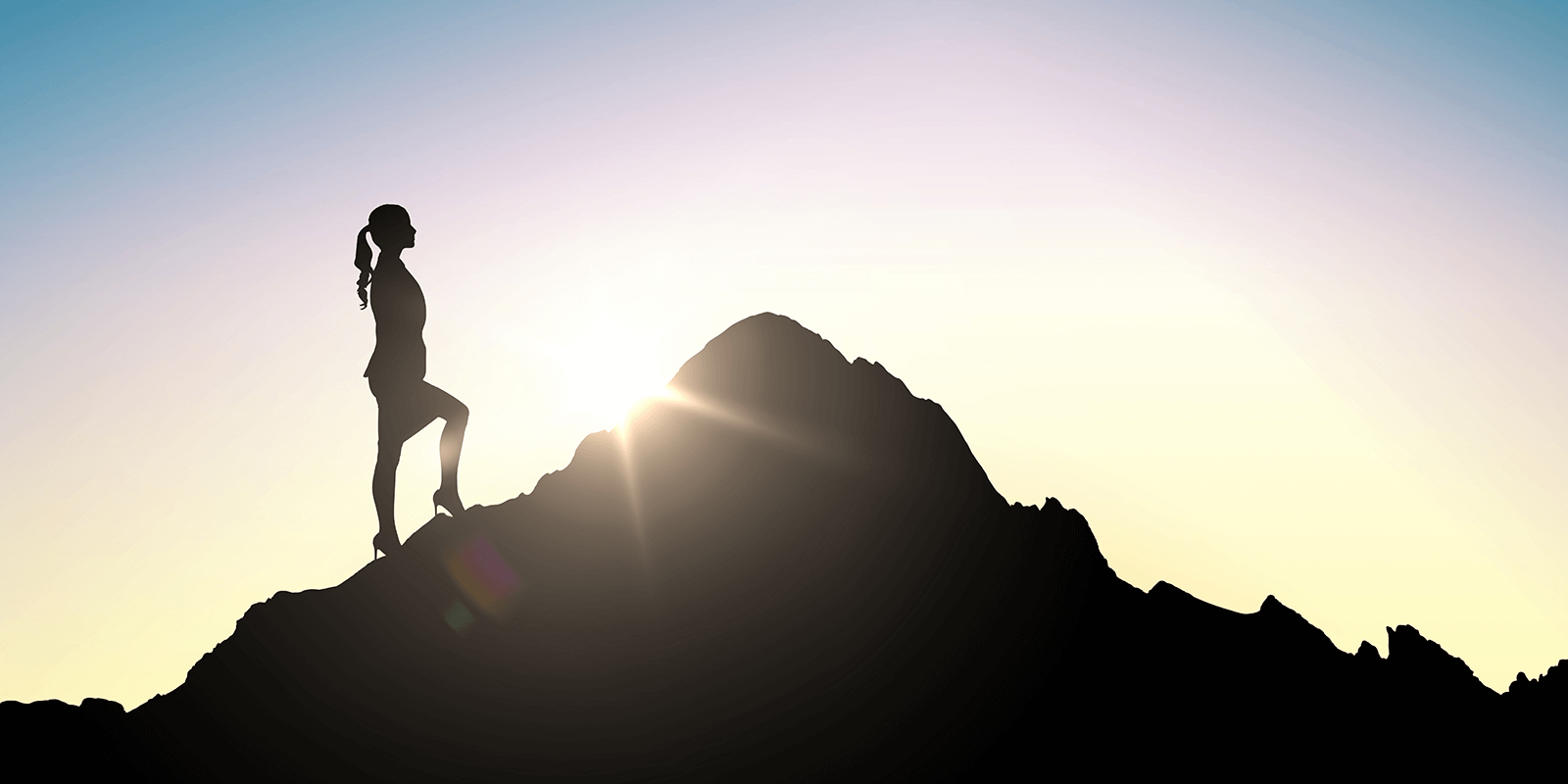 Business Woman on a Mountain